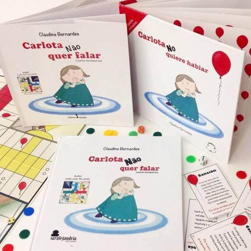 Conto interativo Carlota não quer falar, sonoterapia, livroterapia, Claudine Bernardes, Portugal, Brasil, España