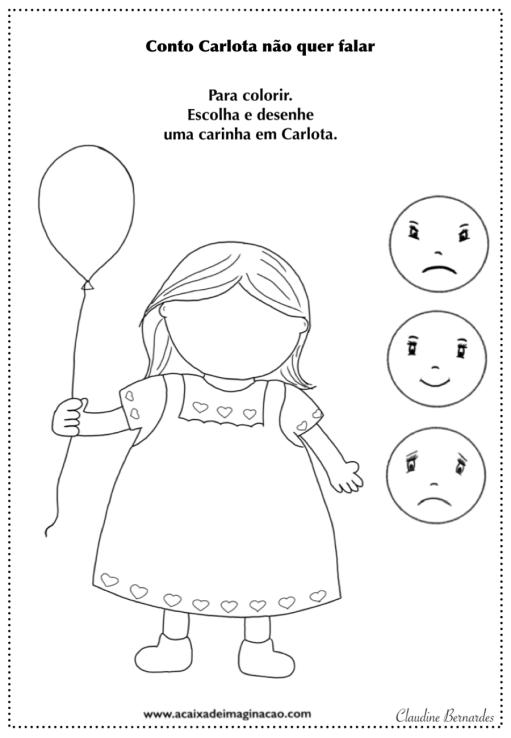 Carlota colorir caras emoções sentimentos pintar