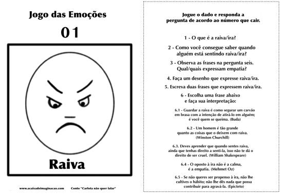 Carlota jogo das emoções 1 raiva