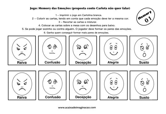 Carlota jogo memory emoções 1 colorir pintar