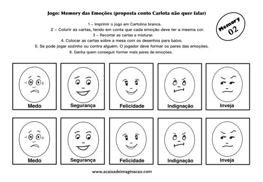 Carlota jogo memory emoções 2 colorir pintar