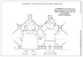 Colorear Carlota no quiere hablar 5 perdón