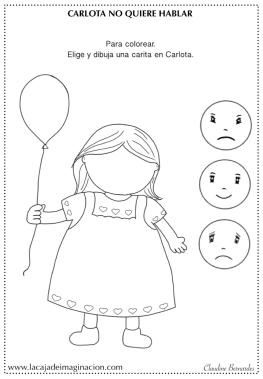 Colorear Carlota no quiere hablar 6 emociones