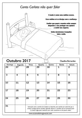 Calendário Carlota não quer falar outubro