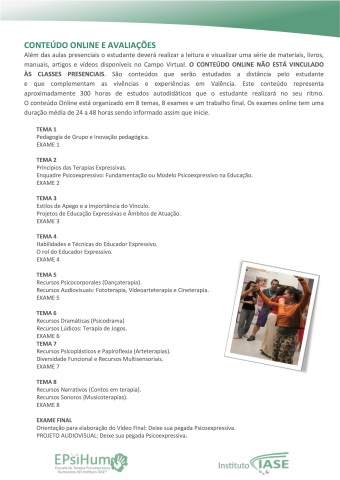 MESTRADO IASE EDUCADOR EXPRESSIVO materias estudadas